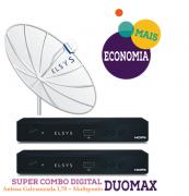 Receptor 2 Pontos Duomax Hd + Parabólica 1,70m Elsys com Multiponto