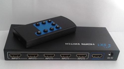 Switch Hdmi 5X1  com Controle Remoto e Fonte