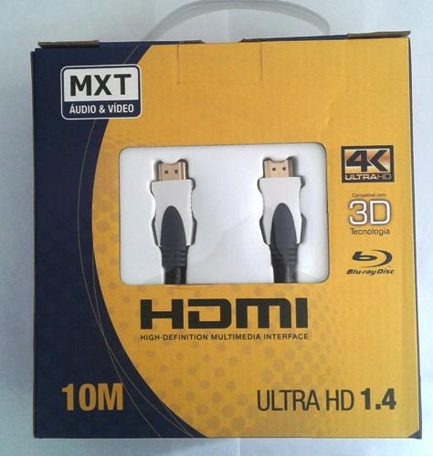 Cabo MXT Hdmi 4K Ultra HD c/ Filtro 28AWG Dourado 10 Metros