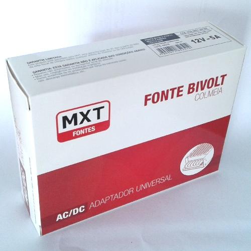 Fonte Estabilizada Chaveada 12V-5A Bivolt Mxt