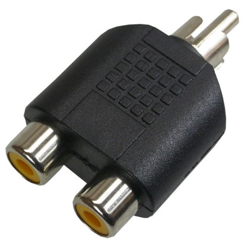 Adaptador  Plug Rca P/2 Jack Rca - Níquel Pacote com 5 Peças