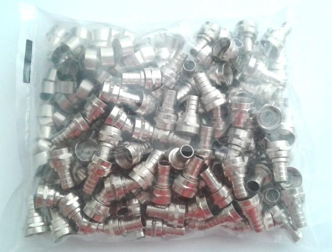 Conector Rg6 De Anilha/ilhós/anel Profissional Pacote Com 500 Conectores + 500 Anilhas