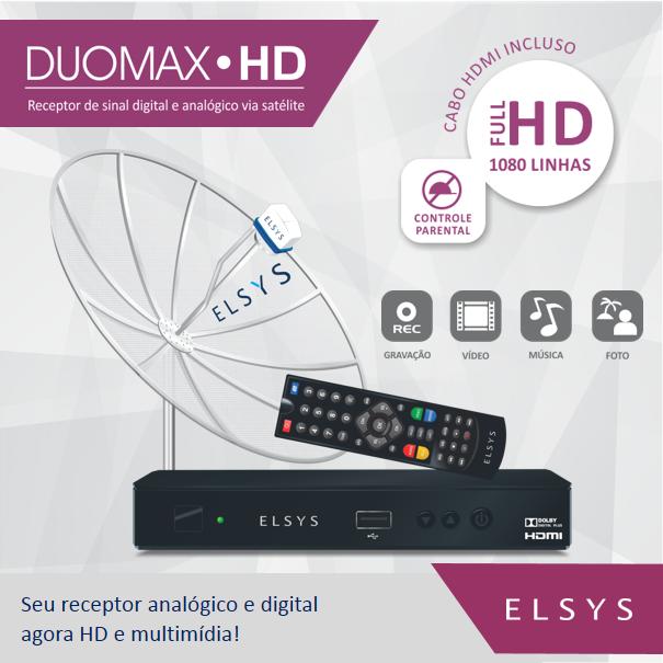 Receptor Parabólica Digital e Analógico Elsys Duomax Hd Full Hd 1080Linhas ETRS43