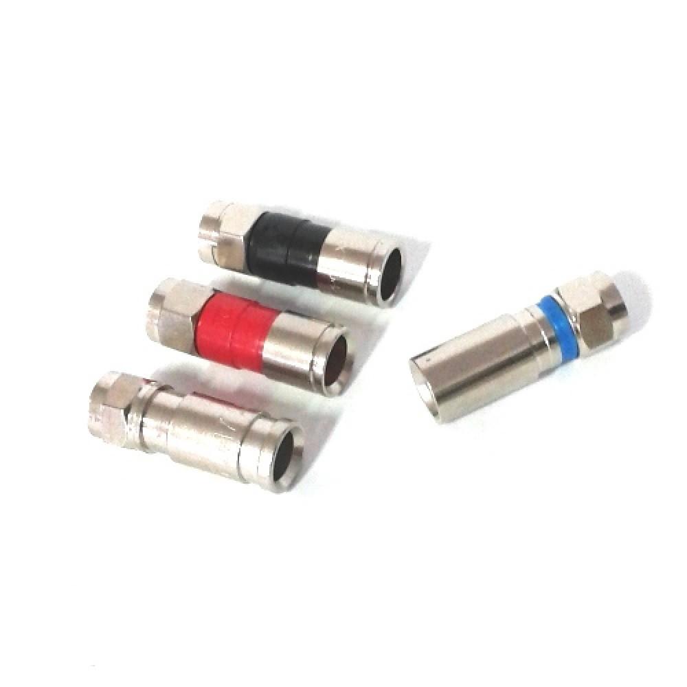 Conector Rg6 De Compressão Profissional Pressão Pct com 10 pçs