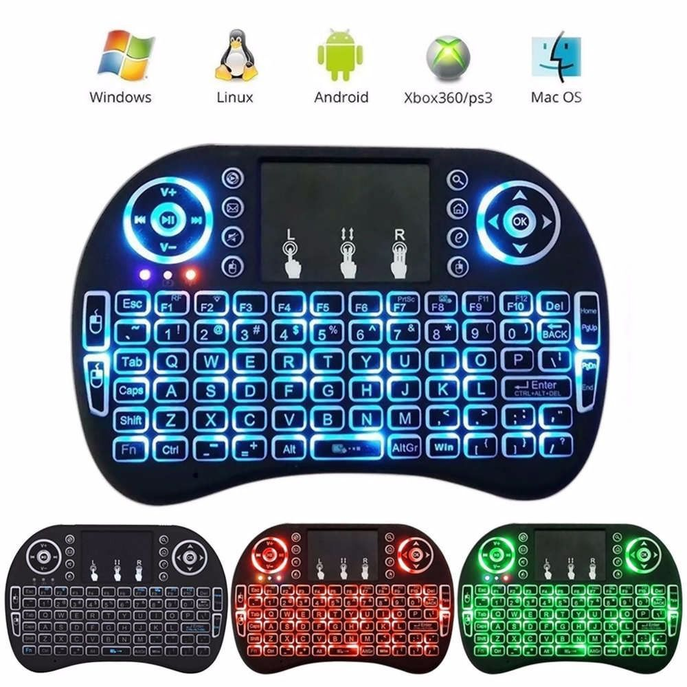 Mini Teclado Keyboard Wireless Iluminado Smart Tv Box Pc Ps4