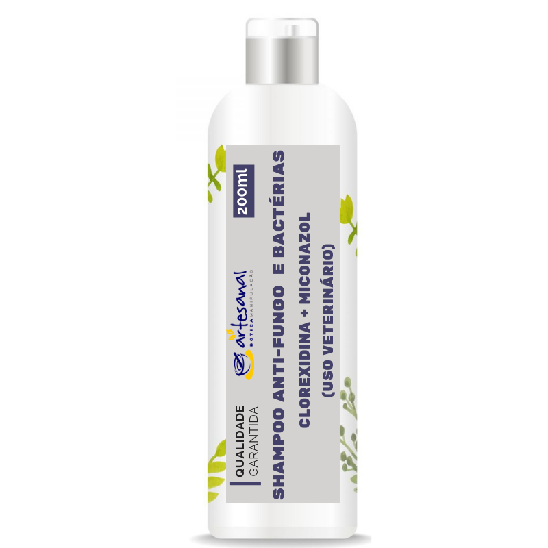 Shampoo Anti-Fungo e Anti-Bacteriano - Clorexidina + Miconazol - 200ml