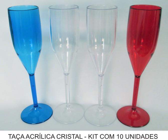 Taça de Champagne Acrílica - Kit 10 unidades  - Bolas Lassabia - Bolas de Futebol e Volei