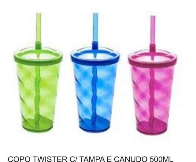 Copo Twister com Canudo e Tampa - Kit com 10 Unidades  - Bolas Lassabia - Bolas de Futebol e Volei