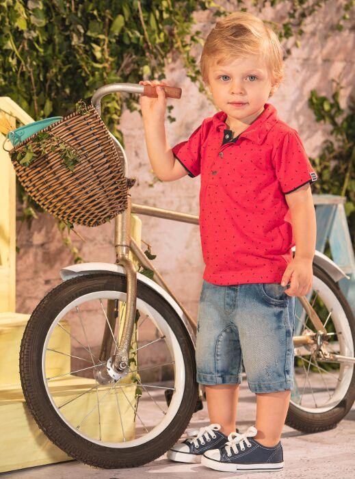 Conjunto Camisa Polo e Shorts Jeans Colours  9ad574ef71c1f
