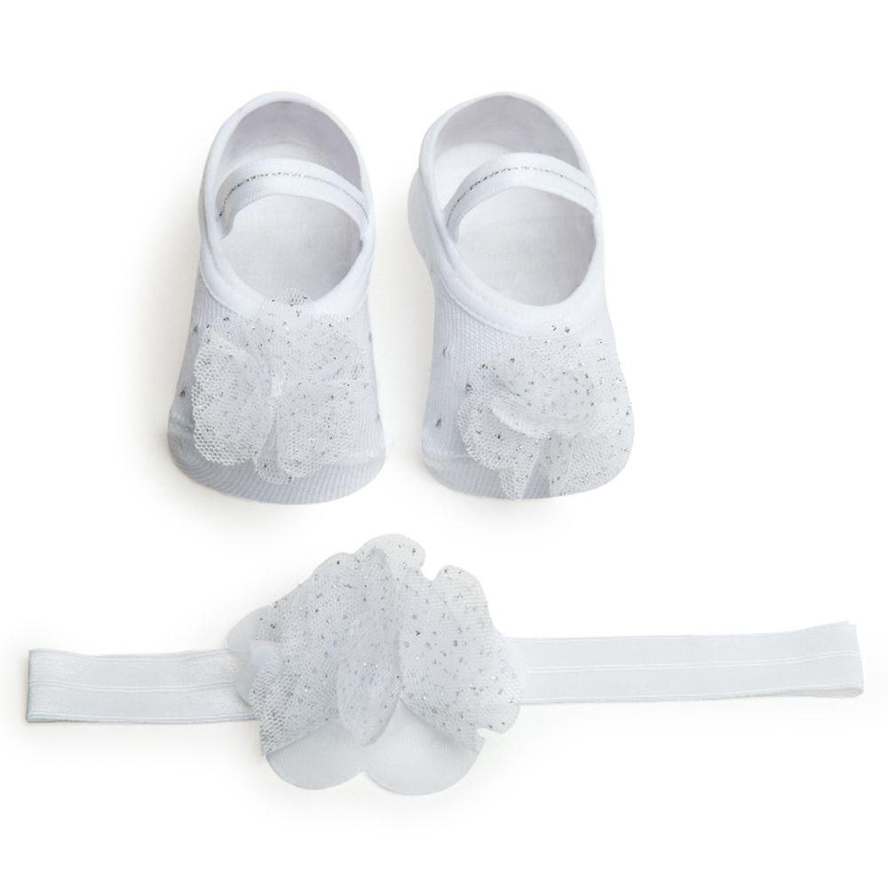 6a316067d Kit Faixa de Cabelo e Sapatilha Flor Branco Brilho (0-12 meses ...