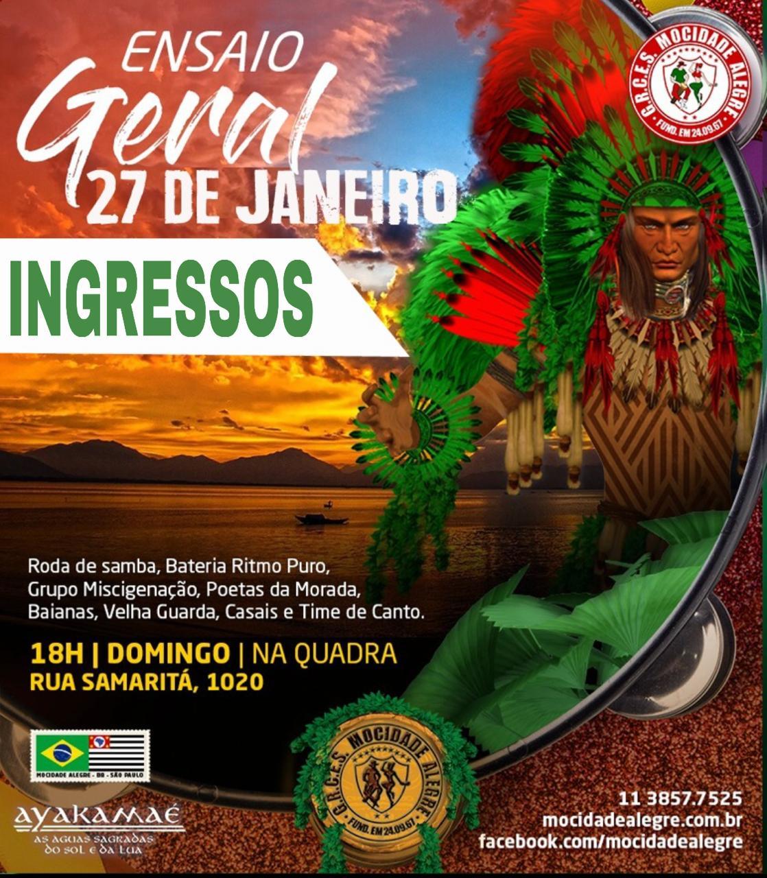 INGRESSO ENSAIO - 27/01/2019   - Mocidade Alegre