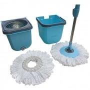 Spin Mop Premium Limpeza Prática Cesto Inox Centrifugador Com 2 Refis Esfregão - Mor