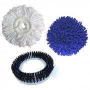 Refil Mop Microfibra + Refil Seco Mop Limpeza Rápida Pó + Refil Escovão - Perfect Mop