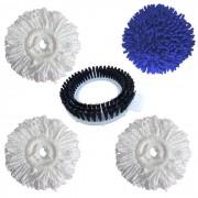 Refil Mop Microfibra + Refil Seco Mop Limpeza Rápida Pó + Refil Escovão - Kit de 5 Peças - Perfect Mop