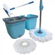 Spin Mop Cesto Inox Com 2 Refis  + Rodo Limpa Vidros 50 Cm