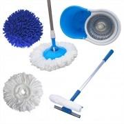 Spin Mop Esfregão Cesto Inox  Com 3 Refis + Rodo Limpa Vidros com Cabo