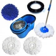 Spin Mop Esfregão Com 3 Refis Microfibra 1 Refil limpeza pó, 1 refil limpeza pesada Cesto Inox Cabo 1,60 Metros