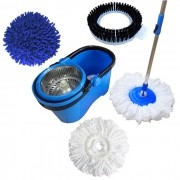 Spin Mop Esfregão Com Cesto Inox Cabo 1,60 Metros Com 2 Refis Microfibra 1 Refil limpeza pó, 1 refil limpeza pesada