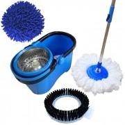Spin Mop Esfregão Com Cesto Inox Cabo 1,60 Mts C/ 3 Refis: 1 Microfibra, 1 Limpeza Pó, 1 Limpeza Pesada