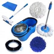 Spin Mop Perfect Mop Pro + Rodo Limpa Vidros 50 Cm + Pano Microfibra