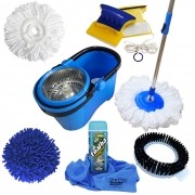 Spin Mop Perfect Pro Com 4 Refis + Toalha Mágica + Rodo Magnético