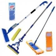 Spray Mop + Mop Tira Pó + Rodo Mágico Dobrável Kit Com Refis Extras