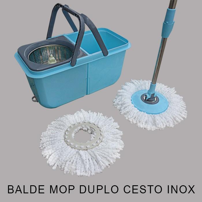 Spin Mop Cesto Inox Com 2 Refis  + Limpador Magnético