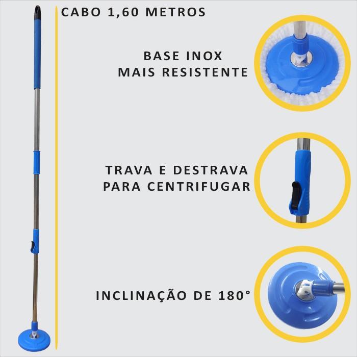 Balde Mop Esfregão Cabo 1,60 Metros Com 3 Refis + Rodo Limpa Vidros Com Cabo