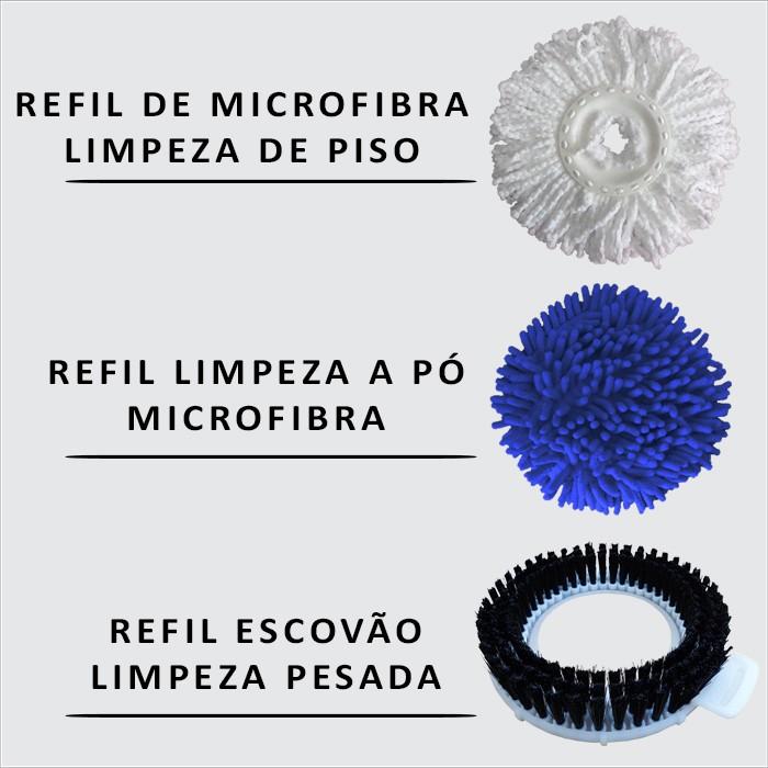 Spin Mop Esfregão Cabo 1,60 Metros Com 3 Refis + Rodo Limpa Vidros Com Cabo