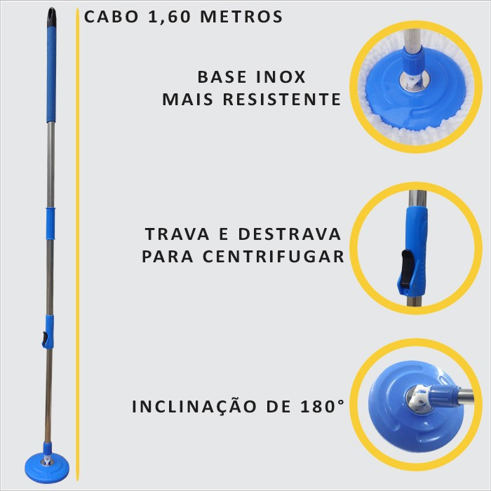 Spin Mop Esfregão Centrífuga Com 3 Refis Microfibra e 1 Refil a Pó Com Cabo 1,60 Mts