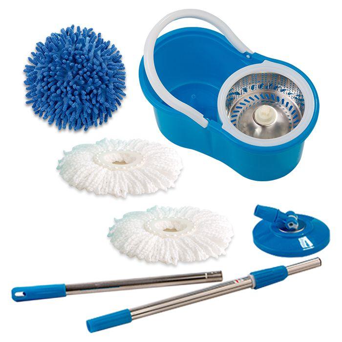Spin Mop Esfregão Giratório Cesto Inox com 2 refis Microfibra e 1 Refil Limpeza a Pó