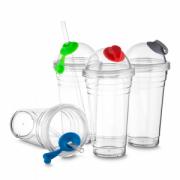 COPO001 - Copo Plástico com Tampa e Canudo