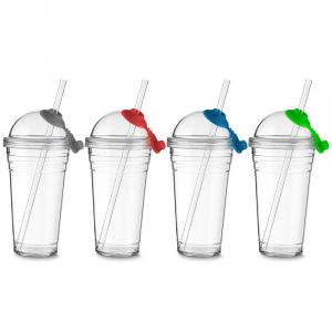 COPO001 - Copo Plástico com Tampa e Canudo  - k3brindes.com.br