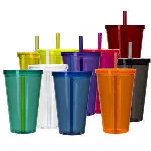 COPO016 - Copo Plástico com Tampa e Canudo
