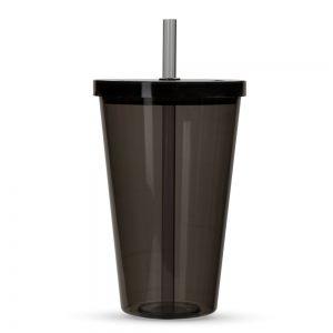 COPO016 - Copo Plástico com Tampa e Canudo  - k3brindes.com.br