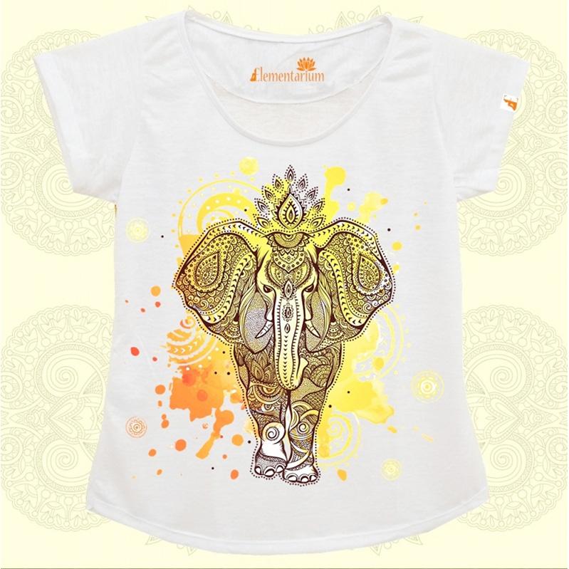 Camiseta Elefante Indiano Aquarela
