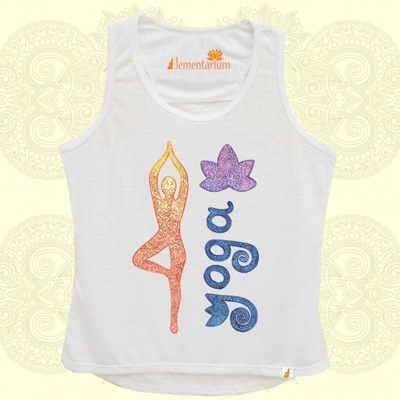Camiseta Yoga e Lotus em Aquarela