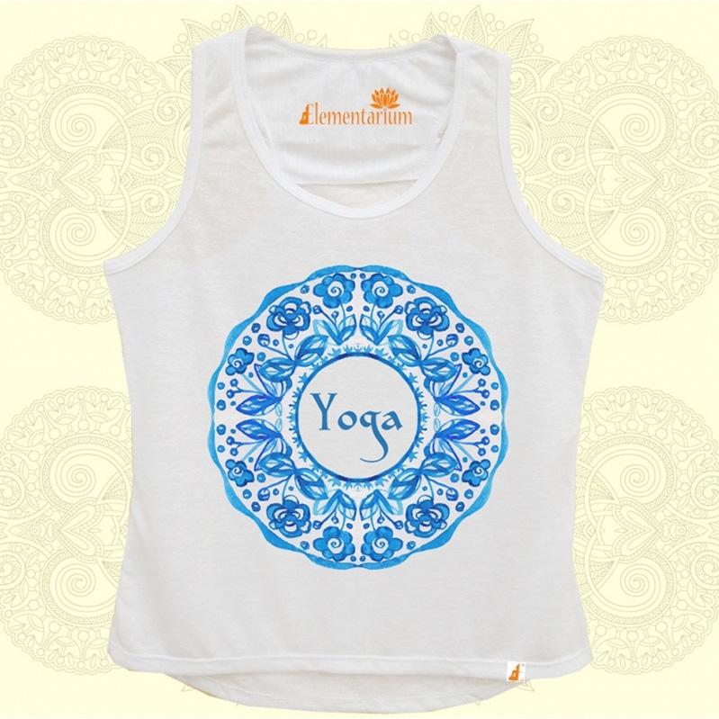 Camiseta Yoga na Aquarela Azul
