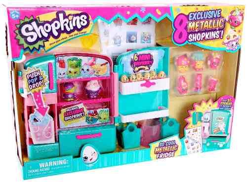 Geladeira Maneira Metalica Shopkins + 8 shopkins DTC  - Doce Diversão