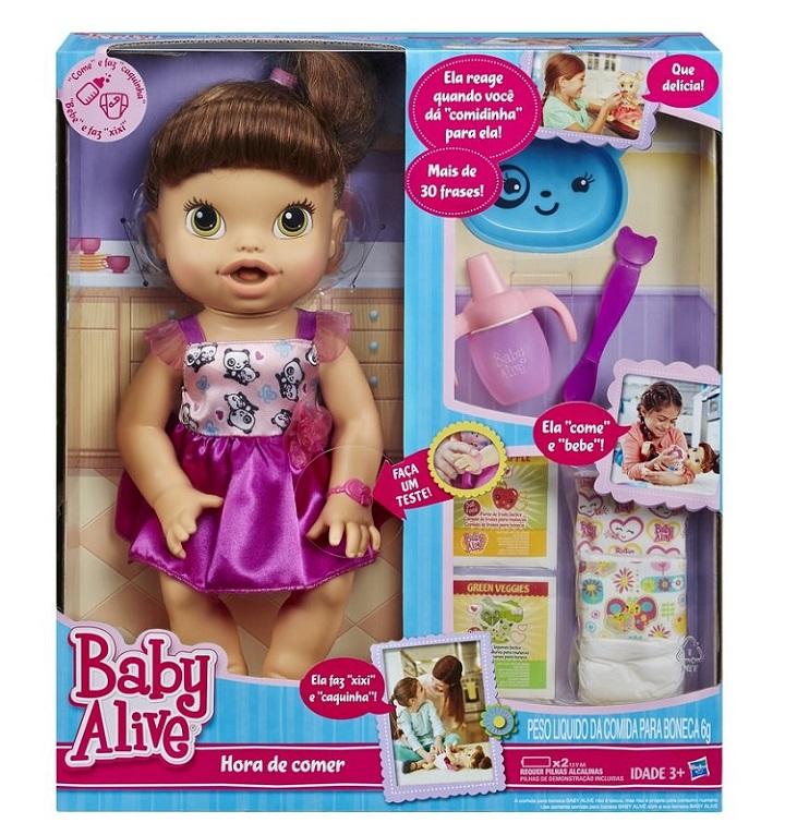 Boneca Baby Alive Hora de Comer Morena - Hasbro  - Doce Diversão