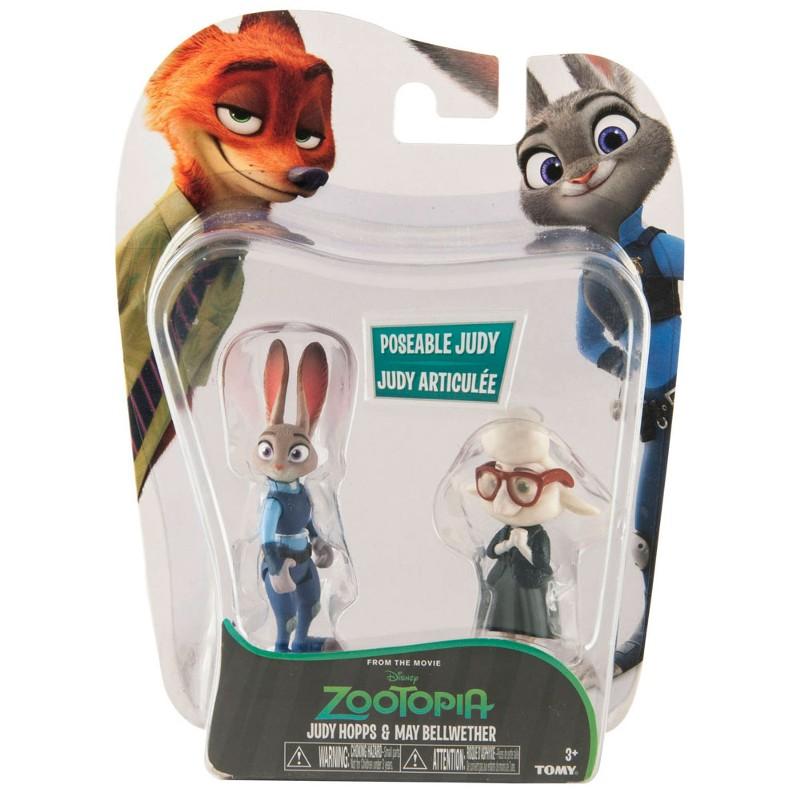Zootopia - Disney - Kit com 4 Bonecos/Figuras Judy /Nick - Sunny  - Doce Diversão