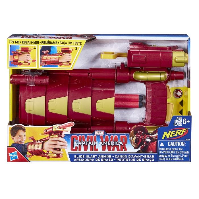 Protetor de braço Nerf Iron Man / Homem de Ferro Guerra Civil   – Hasbro  - Doce Diversão