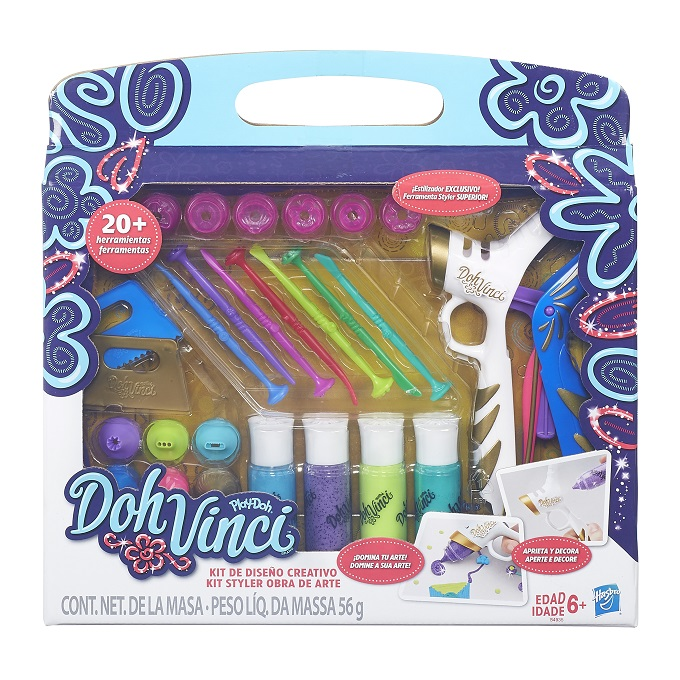 Play Doh Vinci Kit Styler Top Platinum + 20 acessorios - Hasbro  - Doce Diversão