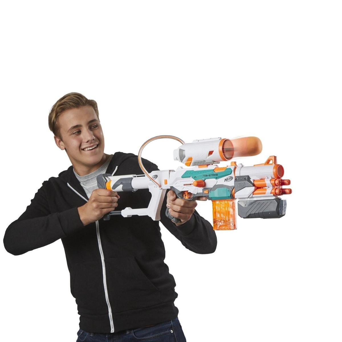 Lançador Nerf  Modulus Tri – Strike  - 14 dardos + 1 Míssil - Hasbro  - Doce Diversão