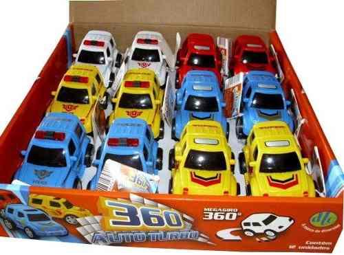 Coleção Carrinhos 360 Auto Turbo - Fricção E Giro C/12 - Dtc  - Doce Diversão