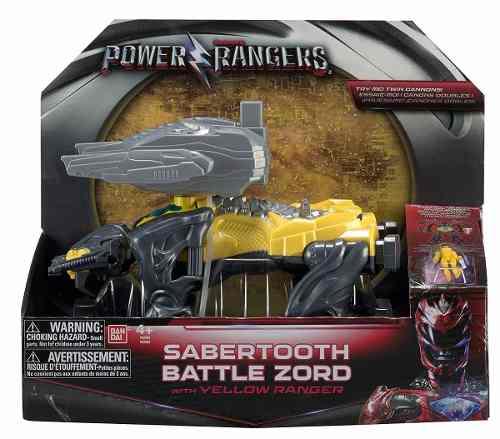 Power Rangers O Filme – Sabertooth  Zord Batalha + Ranger Amarelo –Bandai  - Doce Diversão