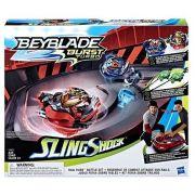 Beyblade Turbo Slingshock Rail Rush – Kit Fúria Sobre Trilhos – Arena e 2 Piões – Hasbro