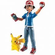 Boneco Pokémon Ash + pikachu + pokebola pokedex Figura Articulado Tomy