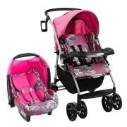 Carrinho + Bebê Conforto Travel System Reverse Burigotto AT6 k Rosa
