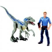 Jurassic World 2 – Conjunto Aventura – Velociraptor Blue + Owen – Mattel